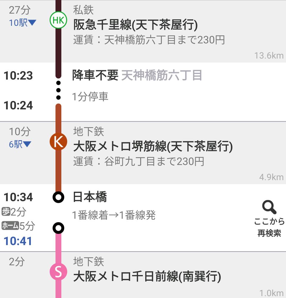 阪急から大阪メトロに乗り換える際、一度も改札を降りることなく、一枚の交通系ICカード(Suica)で問題ないでしょうか?