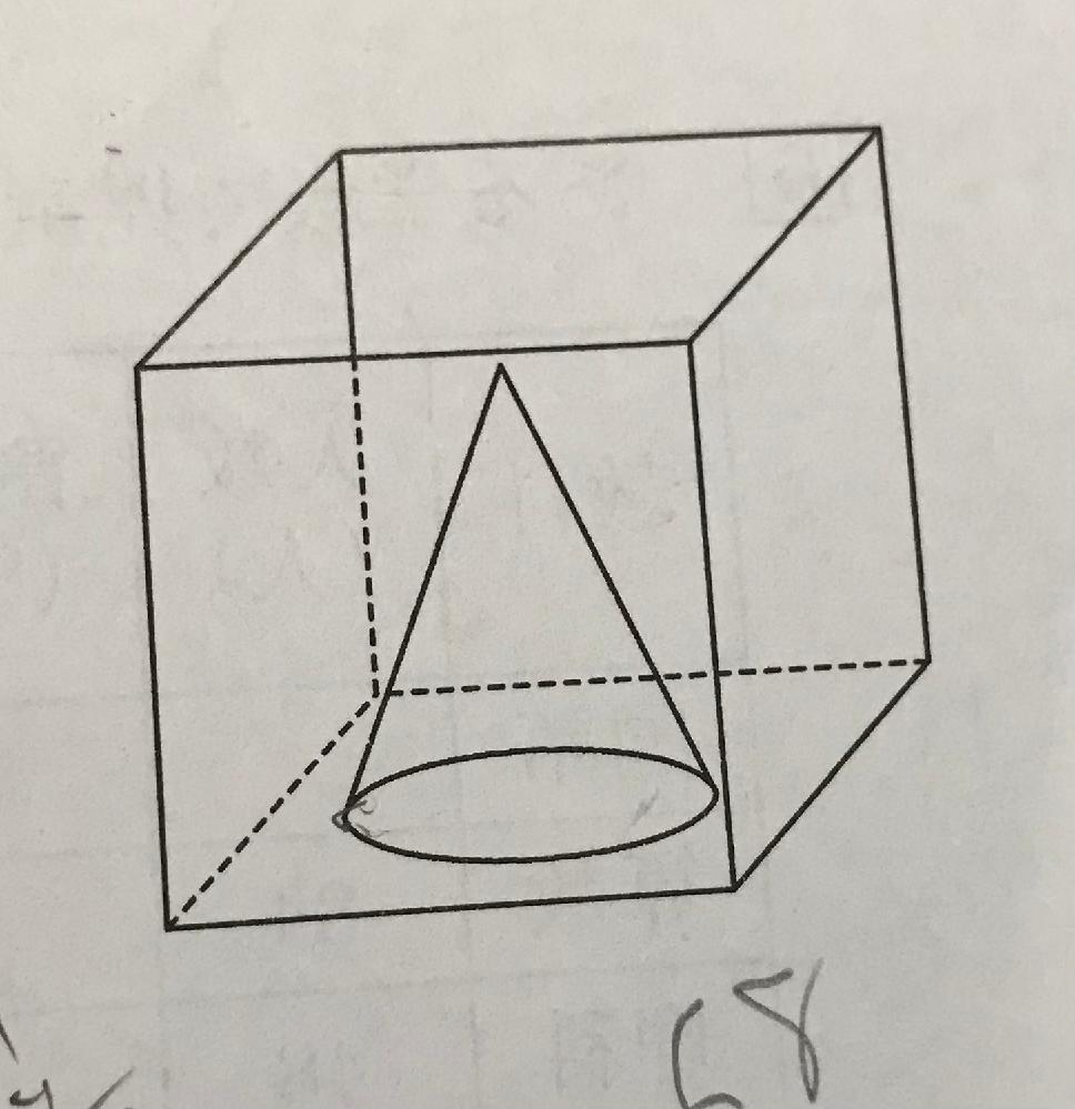 小学6年生の問題です。図のように1辺が6㎝の立方体の容器の中に高さが4cmの円すいを入れます。この容器に水を216㎤入れると36㎤水があふれました。円すいの底面積を求めなさいという問題です。 解き方を教えてください。