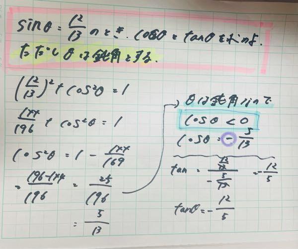 至急数学(sinθcosθtanθ) これについて教えてください。 青で囲ってある不等号はなんですか???? 鈍角なら<、鋭角なら> なのでしょうか? ※この問題の場合鈍角ですが、なぜ途中からマイナスになっているのですか (例えば問題の数字が変わっても、全て途中からマイナスにしなければならないですか?)
