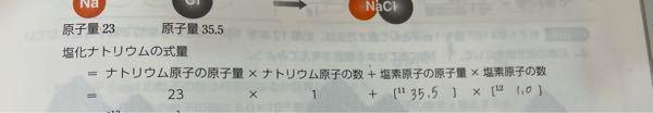 至急です!!! 高校の原子量、分子量、式量が分かりません。 詳しく説明して欲しいです… まずこの式は合っていますか?