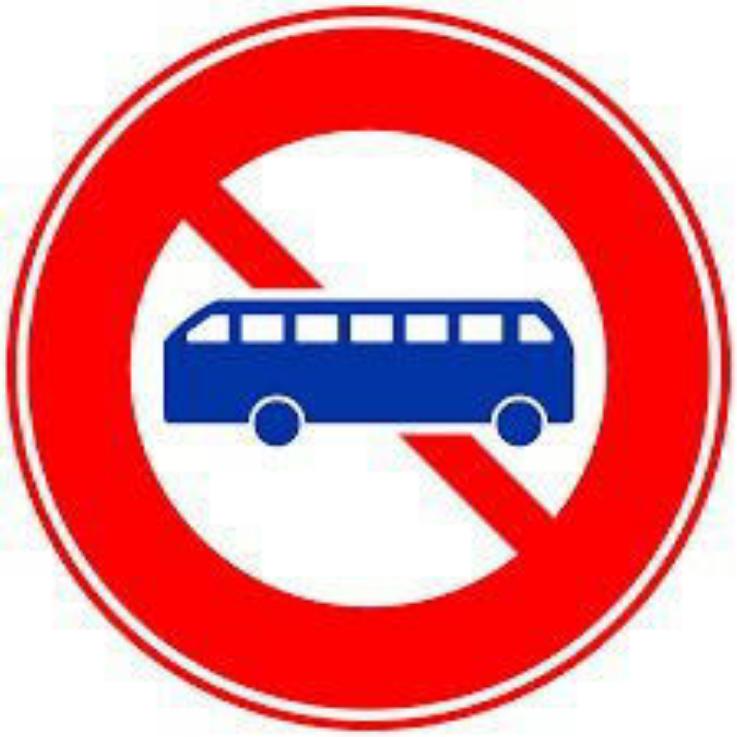 このような標識がある道路では、小型バスでも通行してはいけないのですか?