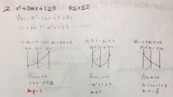 この問題の解き方を教えてください。 次の不等式が、指定された範囲で常に成り立つように、定数mの値の範囲をそれぞれ求めよ。 自分でやってみたのですが、分かりませんでした どこが間違っているかも教えてほしいです。