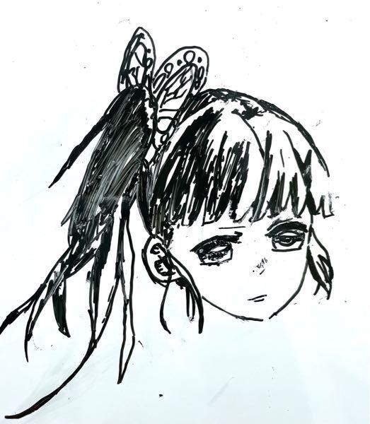 ホワイトボードにカナヲちゃんを描いたのですが、なにか違います。 良ければアドバイスをくださいm(_ _)m