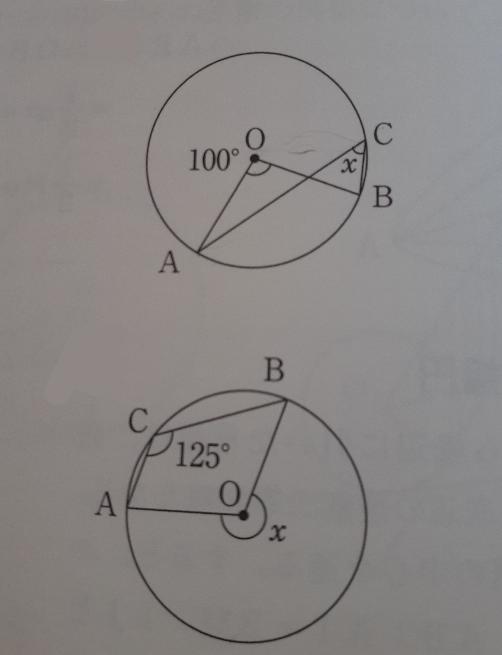 至急教えてください。Xを求める問題です。 上が50°で下が250°です。