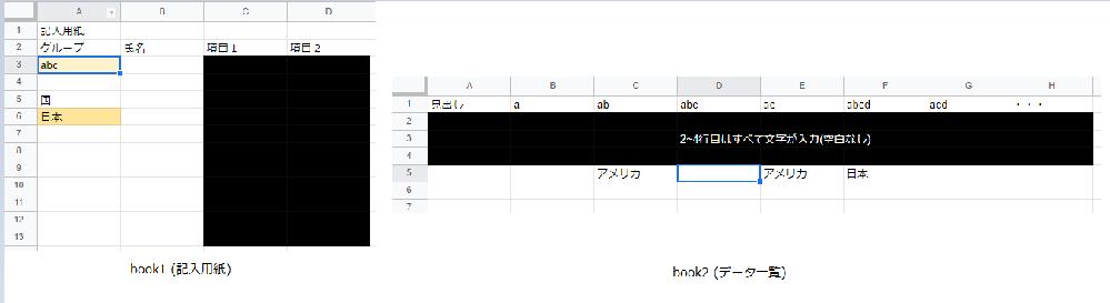 """Excel VBAについて、別ブックへの検索及びコピーについてご教示頂けないでしょうか。 【やりたいこと】 Book1:「記入用紙」 Book2:「データ一覧」 1.book1内に次のようにデータが入力されているとします。 A3セル:""""abc"""" (文字列) A6セル:""""日本"""" (文字列) 2.book2内の1行目にa ~ abcde…とデータが入力されています。(2~4行目はすべて文字列で埋まっています) 3.book1,A3セルに記入されている""""abc""""という文字列をbook2の1行目から検索し、そこから下に数えて一番初めにある空白セルにbook1,A6セルの""""日本""""という文字をコピー ※すでに記入されているセルもあるため、かならず5行目が空白という訳ではありません。 以上の動作が行えるようなマクロについてご教示いただけますと幸いです。 恥ずかしながら、別ブックを開いてアクティブにする点、find関数で文字列を検索した後の空白セルの指定の仕方等々調べたものの、実際に組み合わせるとどうなるかが良く理解できず、お力をお借りしたい次第です。 宜しくお願い致します。"""