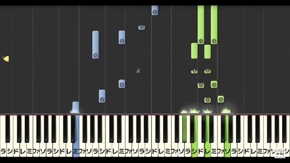 ピアノ楽譜のデモ再生動画について ピアノ楽譜のデモ再生動画によくある下の画像のような映像(音が上から流れてきて鍵盤が光る)は専用のソフトなどを使って作られているのでしょうか? 調べても分からず...