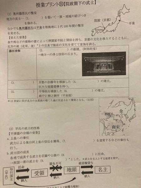 【至急】日本史のプリントなんですが、穴が空いているところをわかるだけで良いので教えてください!