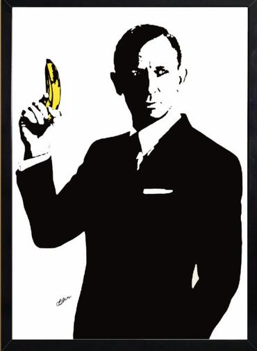 007のボンドがバナナを持っている絵を時々見かけるのですが、どういう意味があるのでしょうか。