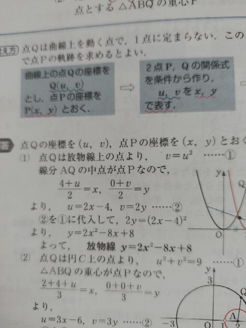 数Ⅱ 図形と方程式です。 写真の 放物線 y=2x²-8x+8 を約分して 放物線 y=x²-4x+4 と回答したらバツになるのでしょうか? わかる方よろしくお願いしますm(_ _)m
