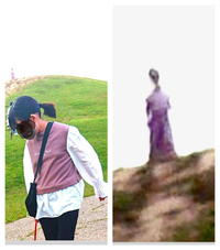 昨日公園で娘と犬の散歩してた時の写メです。写メをよーく見てみると、丘の上に人が立ってるのですが、それを拡大すると宇宙人みたいなのが写ってました。これって宇宙人だと思いますか??