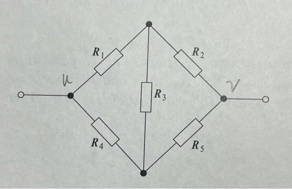 ブリッジ回路の有効抵抗を求める問題なのですがuv間の抵抗の求め方がわかりません。教えてください