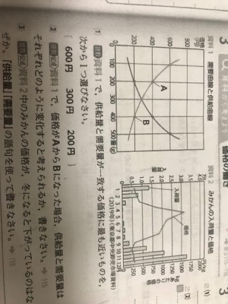 大至急。。 (2)がわかりません。 解説お願いします。。。 なぜ右に行ったり左に行ったりするのかがわかりません。理屈を教えて欲しいです また、需要曲線と供給曲線は右肩上がりが供給曲線だ。と決...