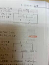 物理 コンデンサー 下の方のコンデンサーの回路でスイッチをa側にして、充電すると、C1の電圧は30vになり、スイッチをb側に切り替えた時、C1の電圧は保存されるため、V2の電圧も30vになると考えましたが、違っていました。 電圧って変わるんですか。保存されるのは電気量だけなのですか。