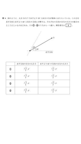 この問題は①が正答なのですが、僕はどちらも30°で分解して④だと思いました。解説をお願いします。