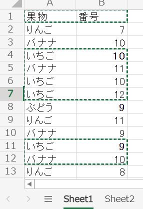 ExcelVBAでちょっと複雑なことがやりたいです。 画像のように、Sheet1のA列に果物の名前、B列に番号が入力されているとして、 セルA2から下へ順に検索していき、「いちご」が入力されてい...
