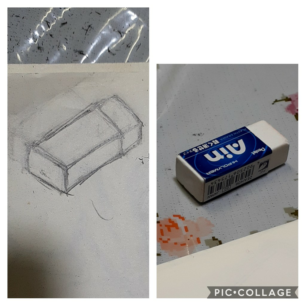 消しゴムのスケッチ変でしょうか? ものの形を捉え、そのまま描く練習をしています