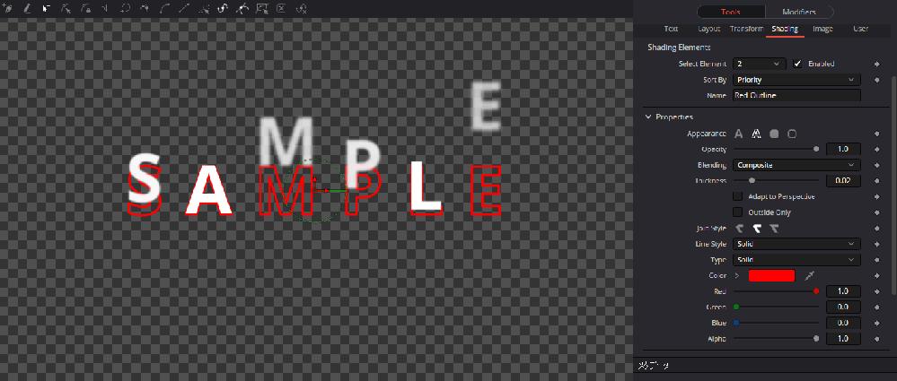 DaVinci Resolve17 Fusionタイトルのフォント変更について Slide in and Down の文字色は変えられるのですが、縁取り文字にすると 添付した画像のように、縁取りだけがその場に残って動きません。 縁取りした状態のまま、文字を動かす事はできないのでしょうか?