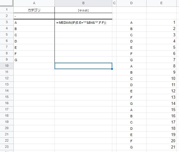 """MEDIAN関数を使い中央値をスプレッドシートで算出する方法をお教えください。 添付画像のように、A列のカテゴリにD列が一致するかを条件に、 E列の中央値を各カテゴリごとに算出したいと考えています。 ただ、IF関数ではワイルドカードが使用できないため、画像に記載の =MEDIAN(IF(D:D=""""*""""&B3&""""*"""",E:E))の数式ではエラーになってしまいます。 ※そもそも、上記の数式が合っていないと思いますが・・・ セル参照の上、中央値を算出する方法があればお教え頂ければ幸いです。 よろしくお願い致します。"""