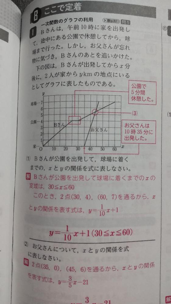 中2一次関数の利用の問題です 解説が y = 1/10X+1となってますがプラス1の意味がわかりません