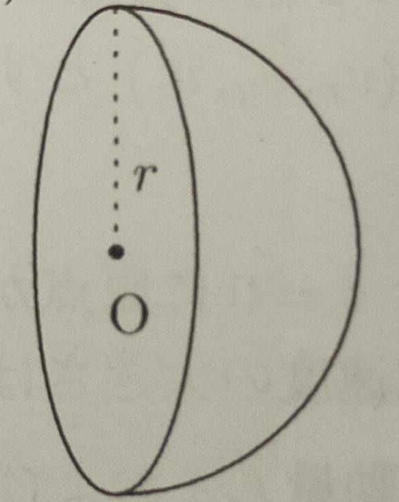 重心を求める問題です。物理の方の重心です。この問題が分からないので解説をお願いしたいです。 半径がrの一様な密度の半球(下図)の重心の位置を答えよ。ただし、半球の円の面の中心Oを通り円の面に垂直な直線の上にあることは自明なので、重心の位置として、半球の円の面の中心Oからの距離を答えればよい。 以上です。よろしくお願いします。
