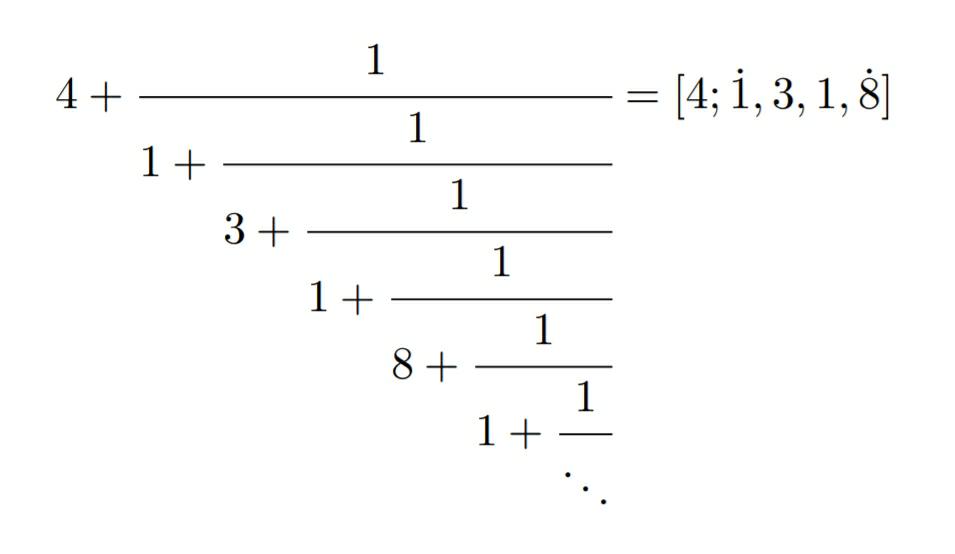 教えてください。お願い致します。 この画像の連分数表示をもつ数を求めてください。 またお手数おかけしますが途中の計算も含めてすみませんが、解説を宜しくお願い致します。