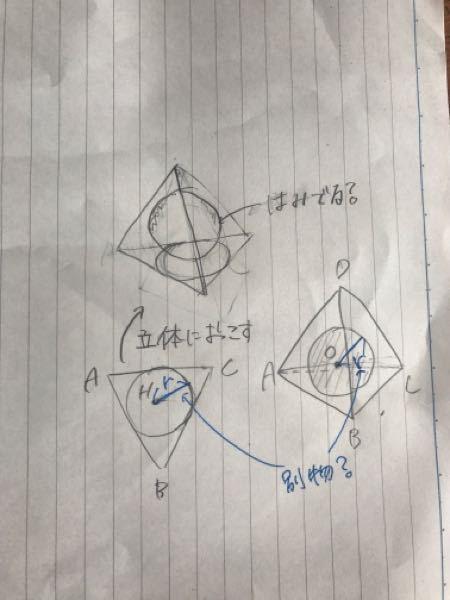 ''正四角錐の底面の内接円の半径''と''正四角錐の内接球の半径''は別物ですか? 底面の内接円が四角錐の内接球と半径が異なるのは、底面の内接円を球体に起こすと立体から球がはみ出るイメージで間違いないでしょうか? 立体のイメージが苦手でもやもしてます 良ければ教えてください。