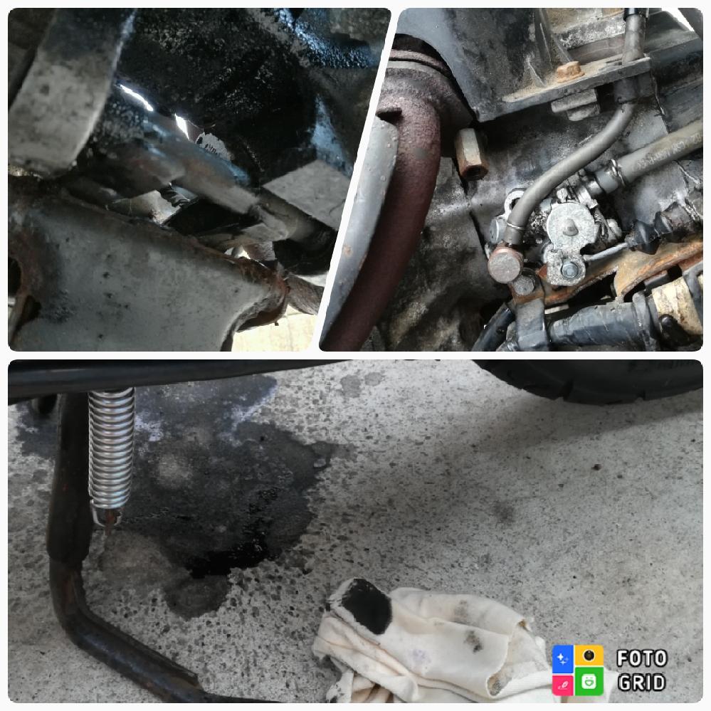 ホンダ スーパーディオ af28。 車体の下を覗くと油でかなり汚れています。 スタンドのバネを代えようとしてわかりました。 車体は、しばらく前にヤフオクで買いました。 地面には滴り落ちていませんが真っ黒な油?のように見えます。 マフラーからの排気漏れでこうなったのでしょうか?。 黒いのはカーボンでしょうか。 オイルポンプもかなり汚かったので周辺を洗浄してます。 オイルポンプが怪しいと最初思っていたのですが、あまりに汚れが黒いので、ただのオイルではないのではと、思っていますが。