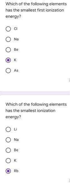 これは正解でしょうか? イオン化エネルギーの最小のものを答える意味でしょうか