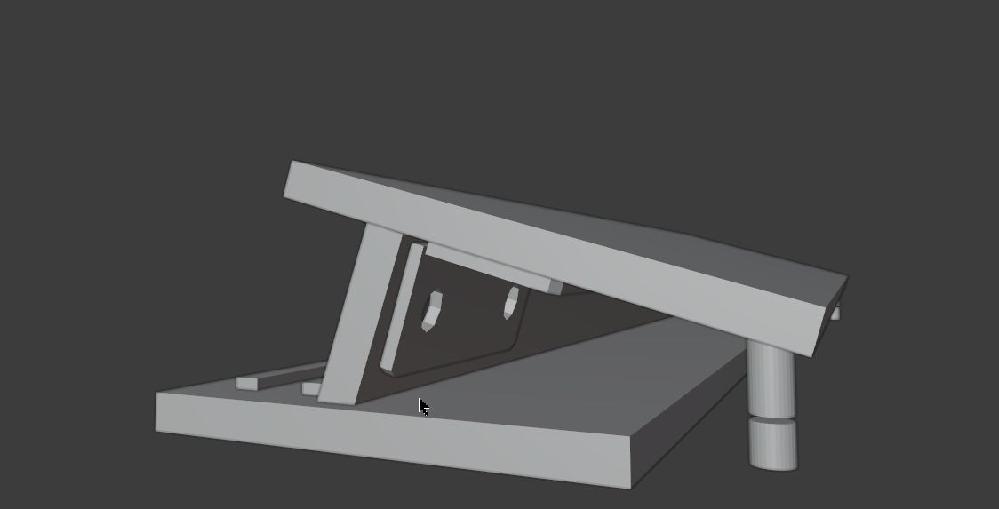 ペンタブ台を自作したいのですが、画像のような構造がいいかなと思います。 問題点が2点ありますので教えて下さい。 1:角度を調節する後ろの板なんですが、この板を引っ掛けておく土台(下部にあるもの)はどう作成したらいいでしょうか? 板を2枚使って、三角形のようにしてしまうと、以下で挙げる高さ調節が出来ません。 また、キーボードを台の下に滑り込ませたいので、そのスペースがなくなります。 2:高さ調節をするための前の脚に関して使えるものはありますか? 達磨落としのようなネジがあればいいんですが。