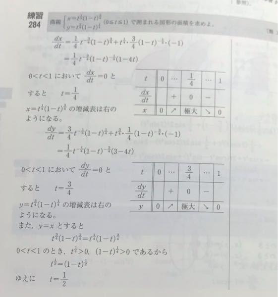 解答の途中なんですが、なぜy=xのtの値を求めているんでしょうか