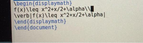 LaTeXで数式とその数式をどのように書いたかを記述したいのですが、数式の後に\\を入れても改行されません。なぜ改行されないのか、またこの方法で無理なのであれば違う改行の方法を教えていただけると...