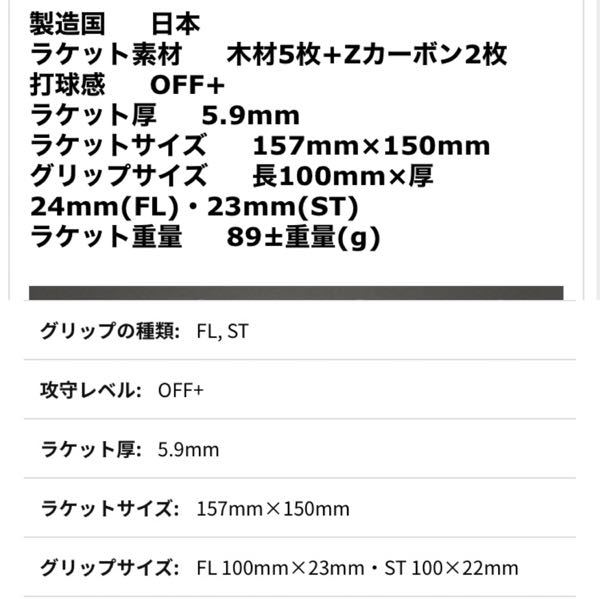 ビクタスのラケット表記について。 ビクタスのホームページでゼクスギアinというラケットを見ていたのですが、FLの太さが23mmらしいですが、通販サイトにはFLは24mmと書いてます。 どちらが正しいですか?