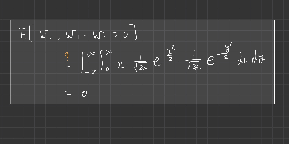 ブラウン運動 wiener過程の期待値計算 Wt;wiener過程(ブラウン運動) i.e. Wt ~ N(0,t)とします. このときW1 - W2 = - (W2 - W1) ~ - N(...