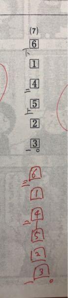 高1 漢文 返り点の問題について(答えあります) 返り点の問題を解いていて、自分の回答と答えが違かったのですが、自分の回答でもちゃんと読める気がします。なので、どうして自分の回答は間違っているのか教えていただきたいです。 よろしくお願いします。 上のシャーペンで書いたのが自分の回答で、下の赤ペンで書いたのが答えです。