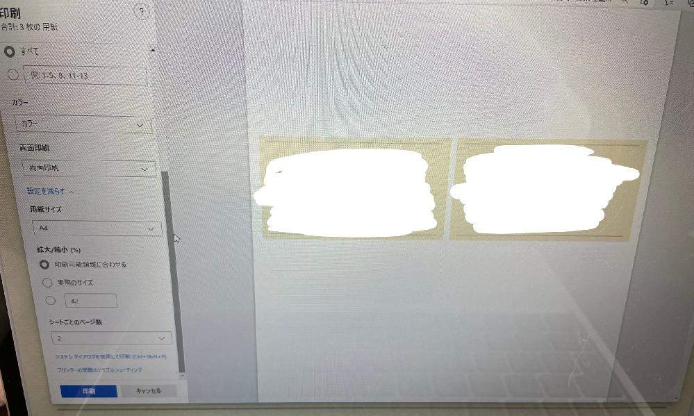 1枚につき2ページずつ、両面印刷をしたいのですが、画像の通り2ページが横に並んでしまいます。以前は縦に並んでいて、今日印刷しようとしたら突然このようになっていました。 縦に並んで欲しいです、、。 治し方わかる方おりましたらご回答のほどよろしくお願い致します。m(_ _)m 画像見ずらくてごめんなさい。