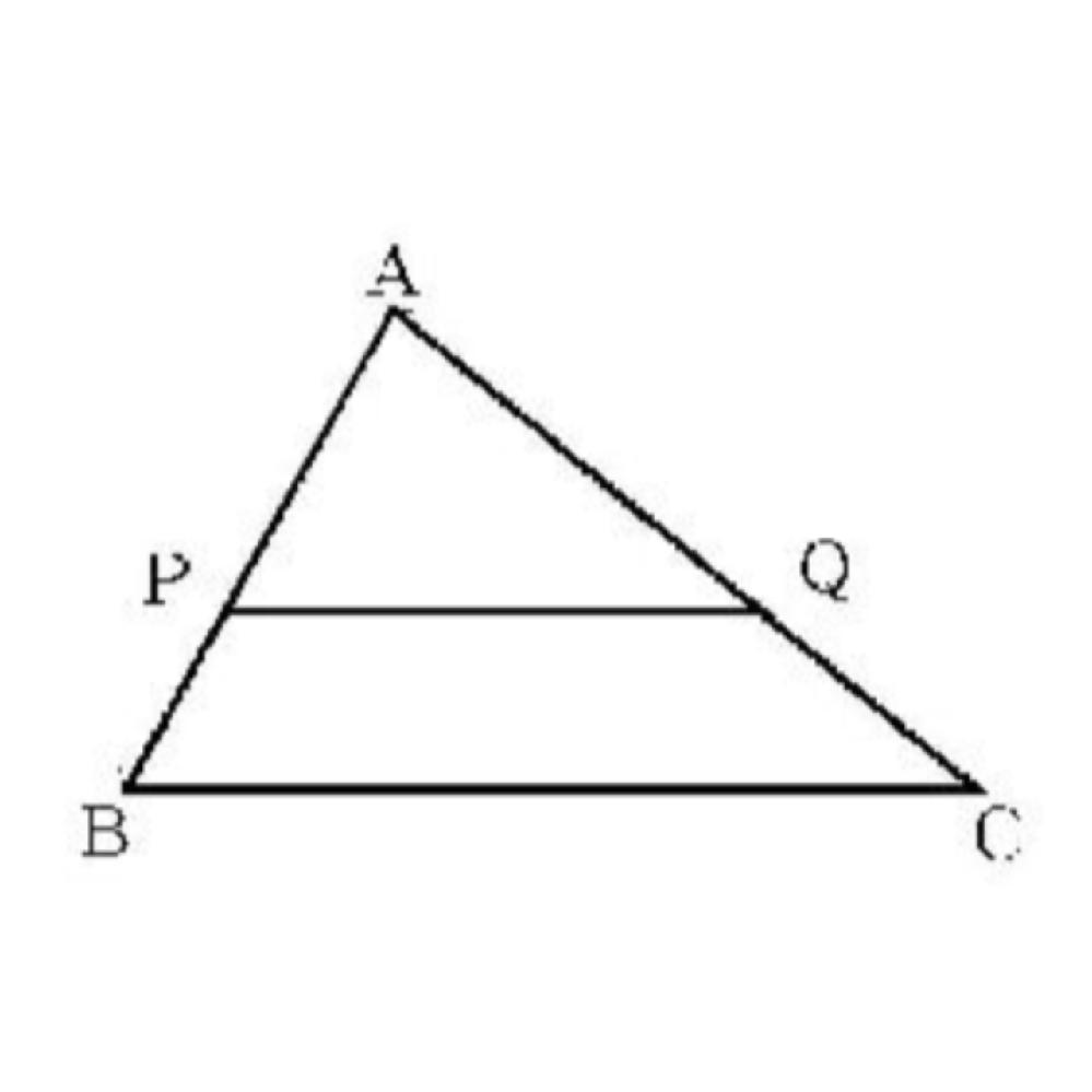 次の△ABCにおいて、PQ//BCならば AP:AB=AQ:AC=PQ:BC がいえることを次のように説明しました。①、②に適切な言葉を入れてください。 △ABCにおいてPQ//BCならば、△APQと△ABCにおいて3つの対応する①が全て等しいことがわかる。よって、△APQと△ABCが②な図形であるので AP:AB=AQ:AC=PQ:BC つまり3つの対応する辺の比が全て等しいことがいえる。 教科書を見ても分かりませんでした(><)数学に詳しい方、お願いします。