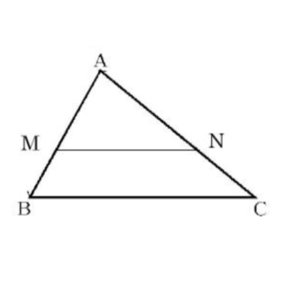 三角形の比の性質より、中点連結定理を導くことができる。これについて次の文の①、②にあてはまる辺の長さの比の値(数)をそれぞれ答えてください。 △ABCにおいて辺AB、ACの中点をそれぞれM、Nとすると、 AM:AB=AN:AC=①:②、 ∠A=∠Aより △AMNと△ABCは相似な図形であることがわかる。よって、MN//BCである。 また、MN:BC=①:②より、 MN=1/2BC まったくわかりません。どなたかお願いします。