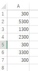 エクセルの置換機能について 添付画像のなかで300だけを1000に置き換えたいです。 このままA列を選択して置換すると5300、1300、2300なども51000、11000、21000に置き換わってしまいます。 300だけを1000にする方法を教えてください。 よろしくお願いします。