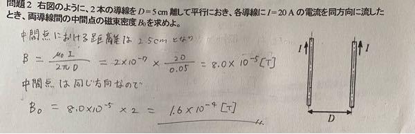 磁束密度を求める問題を解いたのですが、どこが間違えてるか教えて欲しいです