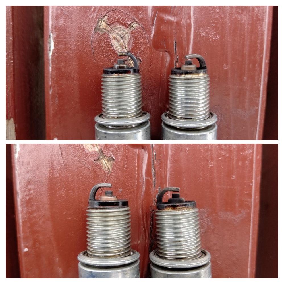 ハーレー 1999年式エボのプラグ焼け具合 99年式エボ、吸排気純正、点火はフルトラのダイナ2000iを使用しております。 プラグを見る角度によって焼け具合が異なりますが、これが正常でしょうか? ちなみに添付写真の 左がフロントシリンダー 右がリアシリンダーです。