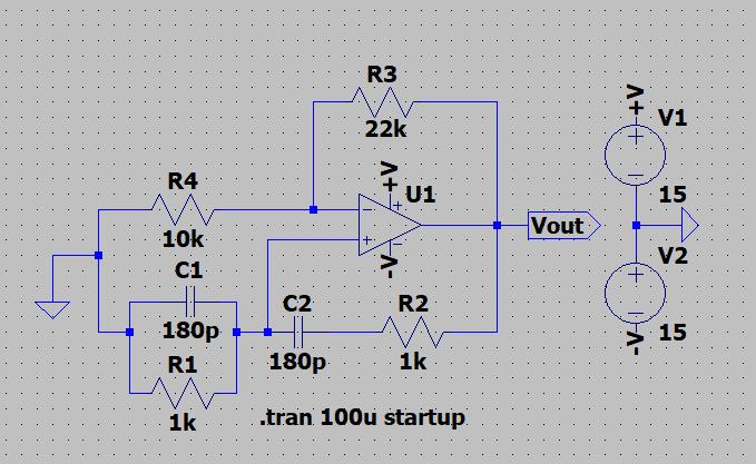 ウィーンブリッジ発振回路を作成しようとしています.500 kHzの発振を目標に画像のような回路でLTspiceでシミュレーションしました.(シミュレーションで用いたオペアンプはGBW=10Meg Sl ew=50Megです.) 実際にオペアンプ(OP42GPZ)を用いてシミュレーションと同じパラメータで結線したのですが,シミュレーションでうまく出力されたにもかかわらず,波形が頭打ちになってきれいな正弦波が出力されません.どこを直せばいいのか教えていただけると嬉しいです.