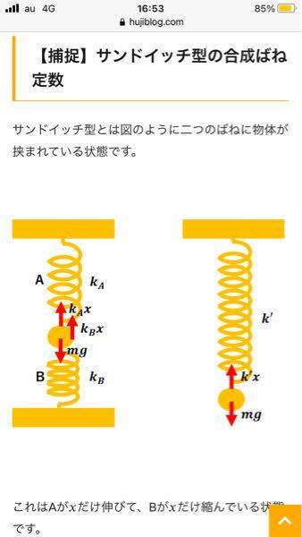 左図ですが、なぜ弾性力がどちらとも上向きに働くのですか?上のは伸びているから縮みたくて上向き、下のは縮んでいるから伸びたくて上向き、という解釈でいいですか?