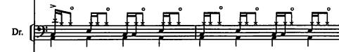 この譜面って、リアルなドラムで叩けるフレーズなのですか? あるバンドのダンスアレンジっぽい曲のドラムです。
