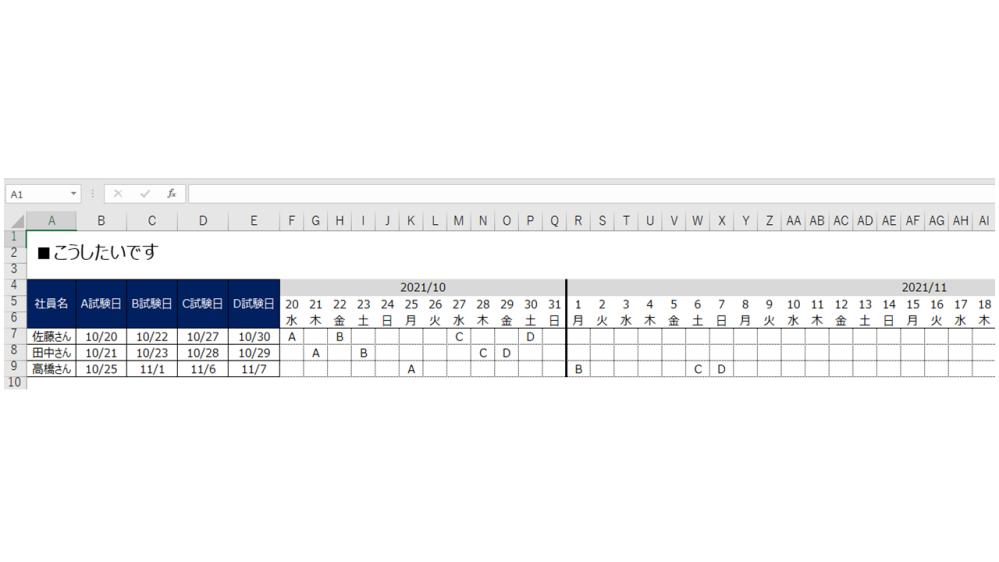 """■エクセルのIF文や、ガントチャートに詳しい方に質問です。 希望は添付画像にまとめました。 A~D試験日セルに日付を手入力すると、 右側のカレンダーの該当日付セルにA試験日なら""""A""""と自動で表示させたいです。 画像には映ってないですが、 カレンダーは約2年後の2023年12月末まであります。 どのような式で実現できるのか、教えていただければ幸いです。 よろしくお願いいたします。"""