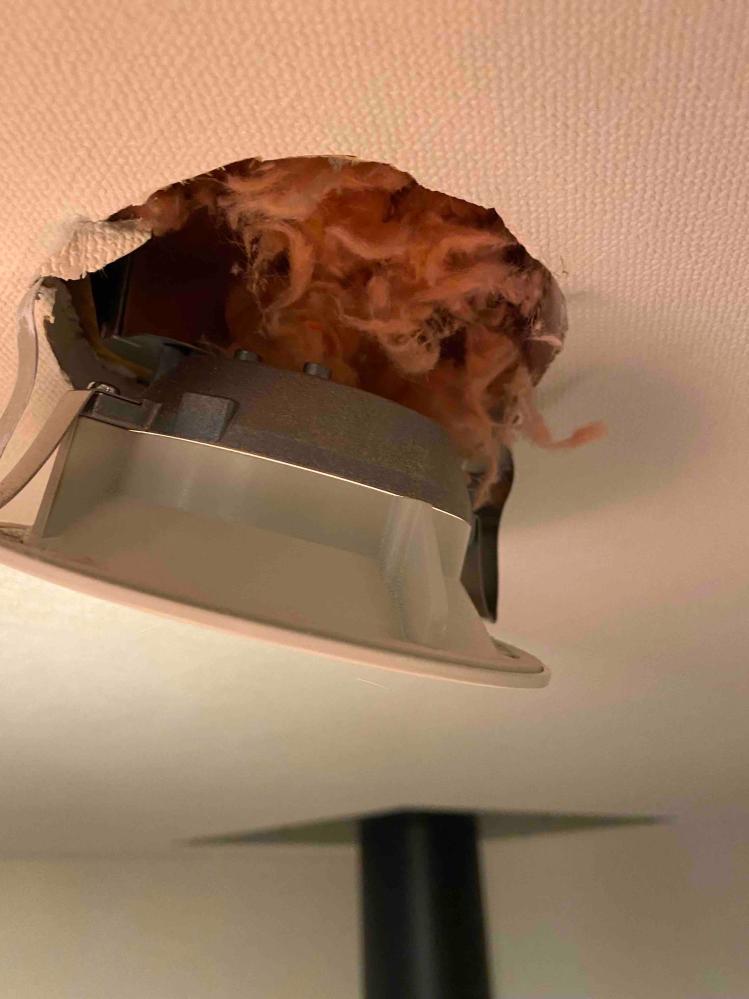 新築戸建て3年目になります。 リビングの照明をLEDから白熱電球に変えたいなと思い、一旦外してみると、外した瞬間に断熱材の綿がポロポロ落ちてきました。照明機もボードに直接取り付けられており、受けの部分はありませんでした。LEDとはいえ、断熱材の綿で敷き詰めて照明器具を取り付けるのは、どうなんでしょうか?目がチカチカするので、白熱電球に変えたいのですが、ボードに直接照明ごと取り付けてあり、白熱電球にしたら火事になるリスクはあるのでは? 家が欠陥住宅でない事を願います。