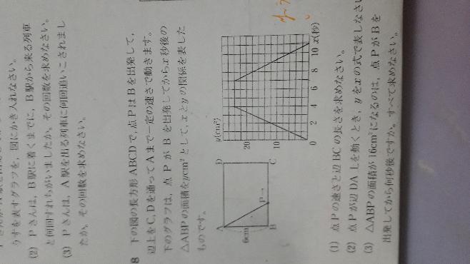 夜分遅くに失礼します。 至急です! 中2 一次関数 大門8の(2)と(3)について詳しく教えていただきたいです。よろしくお願いします。