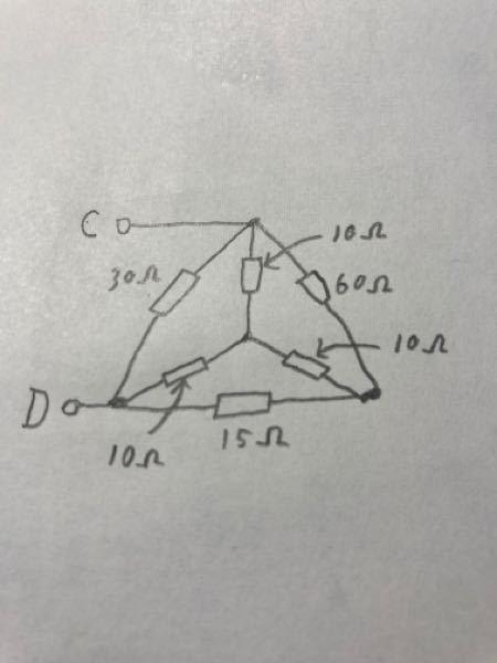 写真の回路の合成抵抗Rcdの解き方を教えていただきたいです。 解法のやり方の手順を丁寧に教えてください。 よろしくお願いします。