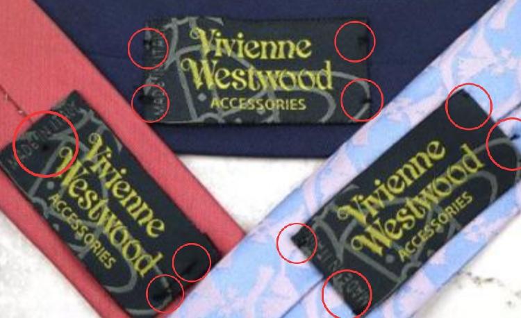 Vivienne Westwoodのネクタイについてです。 中古で購入したのですが、ビビアンのタグが両側1~2箇所ずつの簡単な縫い方でした。これが、普通ですか?