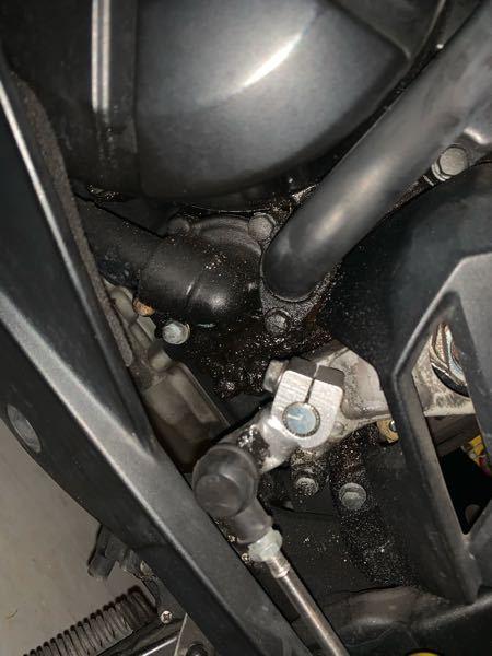 バイクのエンジン付近なんですけどこれってオイル漏れが原因ですか?