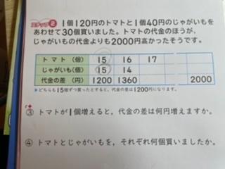 2021/10/21 23:47 算数の問題で質問があります。どなたかお力をお貸し下さい。 ④の問題。 2000-1200=800 800÷160=5 5+15=20 答え トマト20個 じゃがいも10個 になります。 5+15=20の15はトマトの数かじゃがいもの数なのか全く分かりません。 なぜこの様な式と答えになるか分かりやすく解説をお願いしたいです。 よろしくお願い致します。